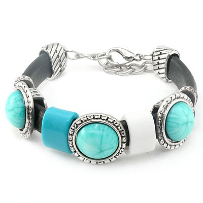 WONDERFUL TRIPLE COLORFUL CREATED GEMSTONE LEATHER & STEEL BRACELET