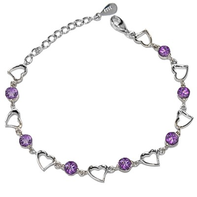 EXCLUSIVE BRAZILIAN PURPLE AMETHYST 0.925 STERLING SILVER W/ PLATINUM BRACELET