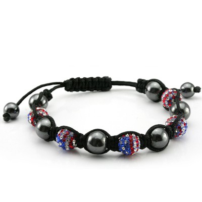 USA PATRIOT COLORFUL SHAMBALA DISCO BALL OF CRYSTAL W/ 6 PCS BLACK ROUND AGATE BRACELET