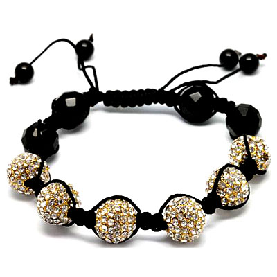 SHAMBALA SPARKLING DISCO BALL OF CRYSTAL W/ 4 PCS FACETED BLACK AGATE BRACELET