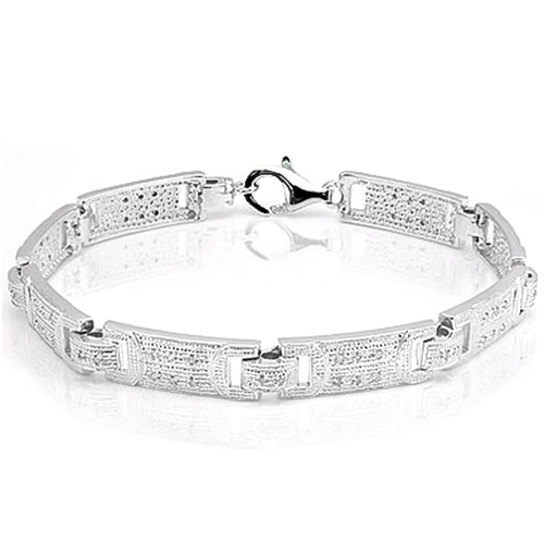 PRETTY 2/5 CARAT TW (64 PCS) GENUINE DIAMOND PLATINUM OVER 0.925 STERLING SILVER BRACELET