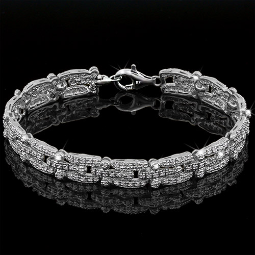 AWESOME ! OVER 1 CARAT TW (234 PCS) GENUINE DIAMOND PLATINUM OVER 0.925 STERLING SILVER BRACELET