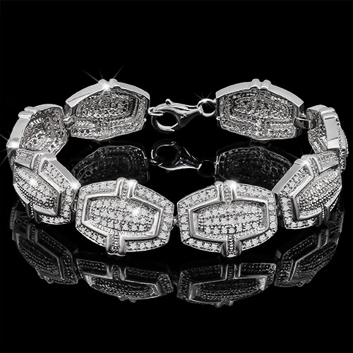 <B>DEA - </B>PRETTY 2.088 CARAT TW (360 PCS) GENUINE DIAMOND PLATINUM OVER 0.925 STERLING SILVER BRACELET