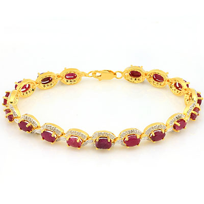 STUNNING 13.104 CARAT TW (119 PCS) GENUINE RUBY & GENUINE DIAMOND PLATINUM OVER 0.925 STERLING SILVER BRACELET