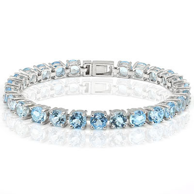 PRETTY 25 CARAT TW (25 PCS) BLUE TOPAZ PLATINUM OVER 0.925 STERLING SILVER BRACELET