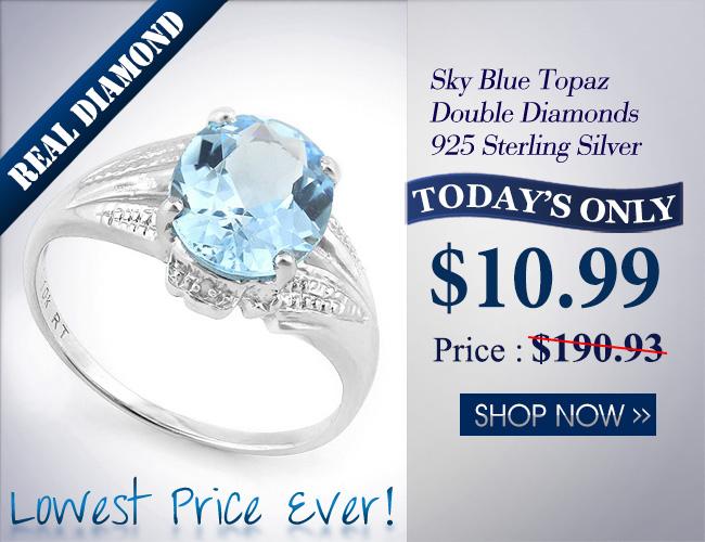 2 1/5 CARAT CREATED BLUE TOPAZ & DIAMOND 925 STERLING SILVER RING