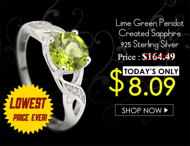 LOVELY 1.3 CARAT PERIDOT WITH CREATED WHITE SAPPHIRE PLATINUM OVER 0.925 STERLING SILVER RING