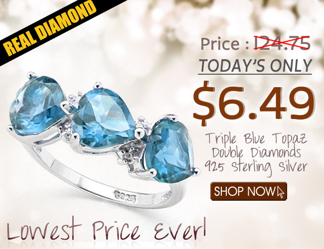 ASTONISHING TRIPLE HEART SHAPED BLUE TOPAZ WITH DOUBLE GENUINE DIAMONDS PLATINUM OVER 0.925 STERLING SILVER RING