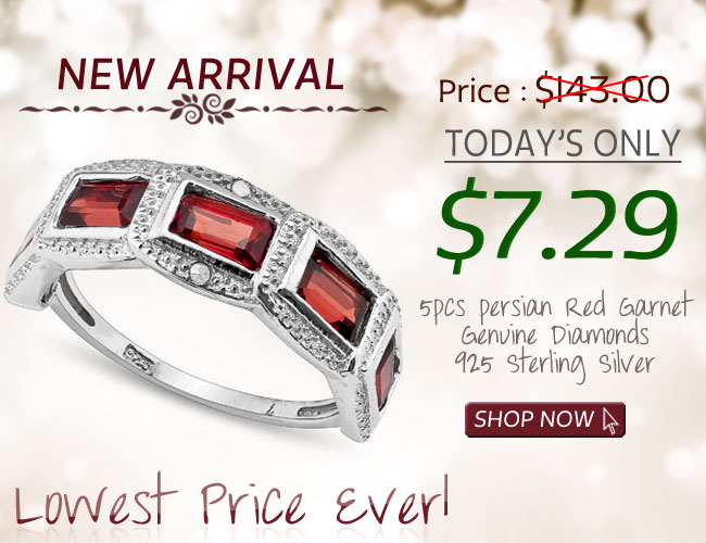 SMASHING 2.00 CARAT GARNET WITH DOUBLE GENUINE DIAMONDS PLATINUM OVER 0.925 STERLING SILVER RING