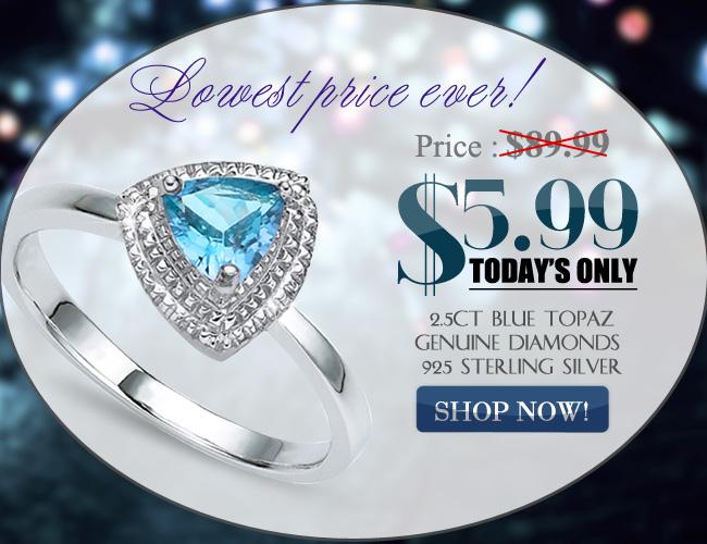 DELICATE SKY BLUE TOPAZ DOUBLE WHITE DIAMOND 0.925 STERLING SILVER W/ PLATINUM RING
