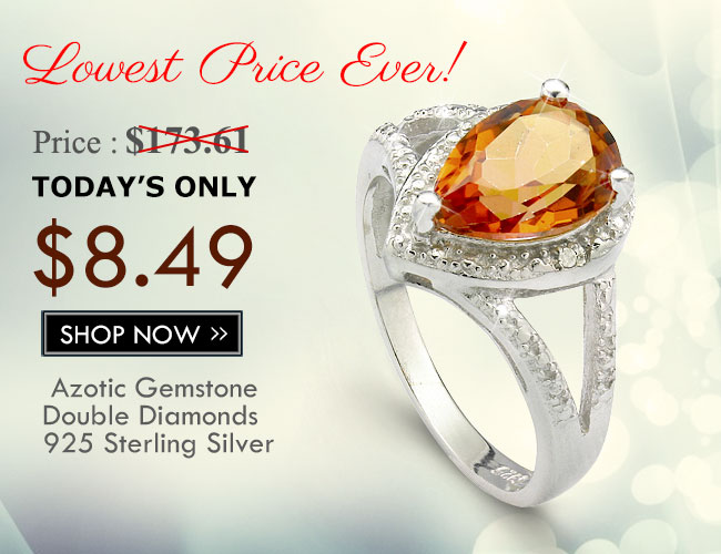 SMASHING 1.95 CARAT AZOTIC GEMSTONE & DOUBLE GENUINE DIAMONDS PLATINUM OVER 0.925 STERLING SILVER RING