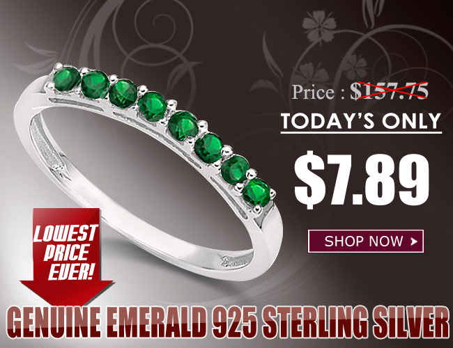 SPARKLING 0.34 CARAT TW (8 PCS) GENUINE EMERALD PLATINUM OVER 0.925 STERLING SILVER RING