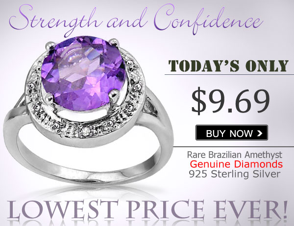 CLASSIC 3.40 CT AMETHYST WITH DOUBLE GENUINE DIAMONDS 0.925 STERLING SILVER W/ PLATINUM RING