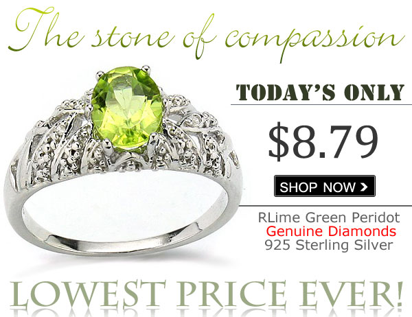 MARVELOUS 1.30 CT PERIDOT WITH DOUBLE DIAMONDS 0.925 STERLING SILVER W/ PLATINUM RING