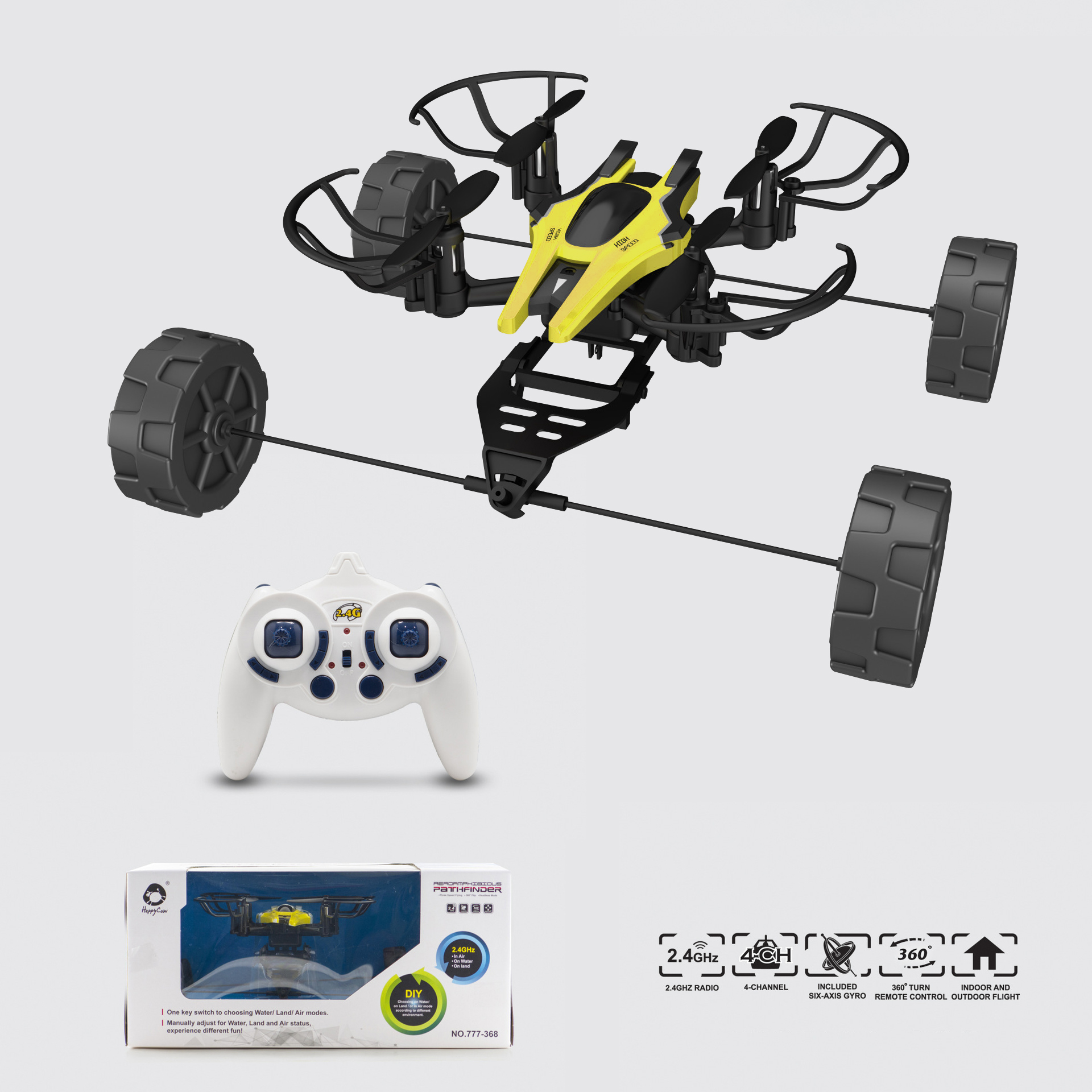 AIR LAND & WATER MINI 4-AXIS GYRO RC FLYING CAR DRONE HELICOPTER UFO