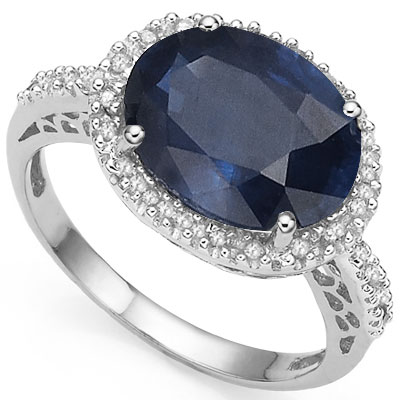 AMAZING 4.54 CT GENUINE SAPPHIRE WITH DOUBLE DIAMONDS 0.925 STERLING SILVER W/ PLATINUM RING