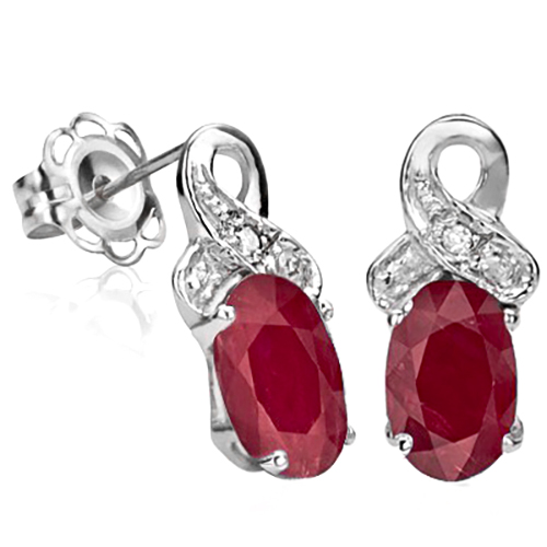 AMAZING 1.23 CT GENUINE RUBY & DOUBLE WHITE DIAMOND 0.925 STERLING SILVER W/ PLATINUM EARRINGS