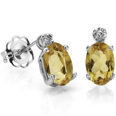 BEAUTIFUL 0.86 CARAT TW CITRINE & GENUINE DIAMOND PLATINUM OVER 0.925 STERLING SILVER EARRINGS