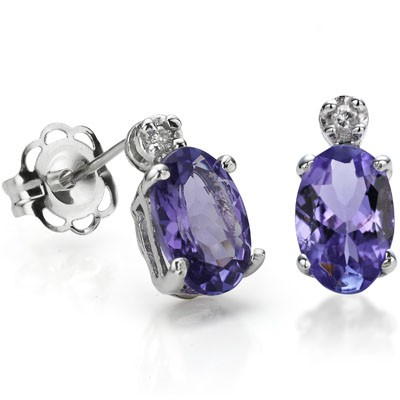 EXCLUSIVE 0.99 CARAT TW GENUINE TANZANITE & GENUINE DIAMOND PLATINUM OVER 0.925 STERLING SILVER EARRINGS