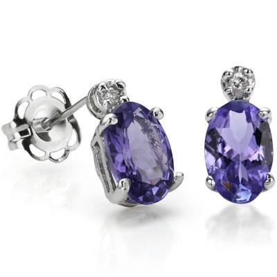 EXCLUSIVE 0.99 CARAT TW GENUINE TANZANITE & GENUINE DIAMOND PLATINUM OVER 0.925 STERLING SILVER EARRINGS