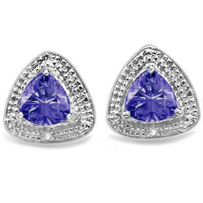 SMASHING 1.2 CARAT LAB TANZANITE WITH DOUBLE GENUINE DIAMONDS PLATINUM OVER 0.925 STERLING SILVER EARRINGS