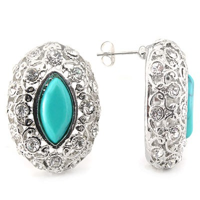 EXCELLENT! DELICATE BLUE CREATED GEMSTONES WHITE ALLOY EARRINGS