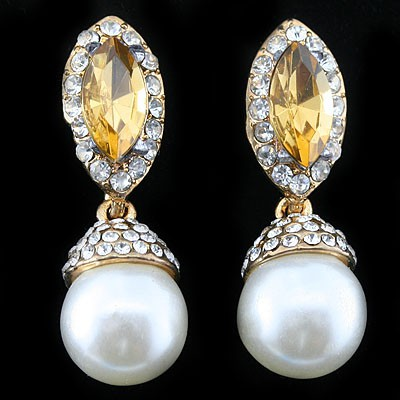 STUNNING! SPLENDIND YELLOW CREATED GEMSTONES & WHITE PEARLS YELLOW ALLOY DROP EARRINGS