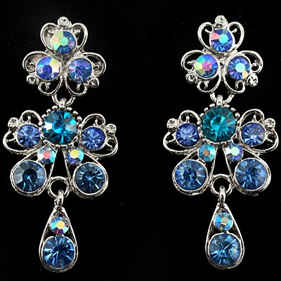 EXCELLENT! DELICATE OCEAN BLUE CREATED GEMSTONES WHITE ALLOY EARRINGS