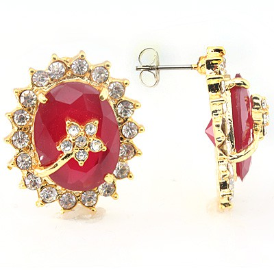 EXCELLENT! DELICATE RED CREATED GARNET GEMSTONES YELLOW ALLOY EARRINGS