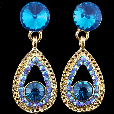 REFINED BLUE CREATED GEMSTONES YELLOW ALLOY EARRING