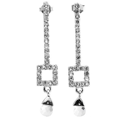 GORGEOUS 3.04 CARAT TW (50 PCS) WHITE TOPAZ & WHITE TOPAZ PLATINUM OVER 0.925 STERLING SILVER EARRINGS