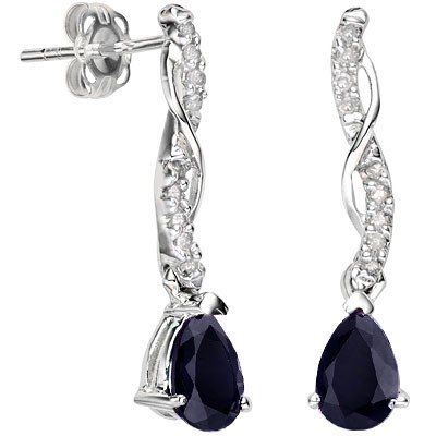 SMASHING 1.05 CT GENUINE SAPPHIRE WITH DOUBLE DIAMOND 0.925 STERLING SILVER W/ PLATINUM EARRINGS