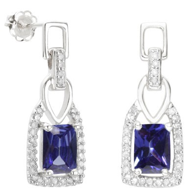 ASTONISHING 3.34 CARAT TW LAB TANZANITE & GENUINE DIAMOND PLATINUM OVER 0.925 STERLING SILVER EARRINGS