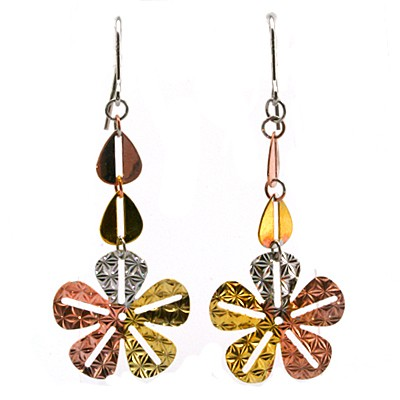 STUNNING FASHION FLOWER DESIGN TRI-COLOR 0.925 STERLING SILVER EARRNGS