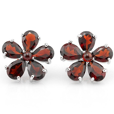 ELEGANT RED GARNET FLOWER DESIGN 0.925 STERLING SILVER W/ PLATINUM EARRINGS
