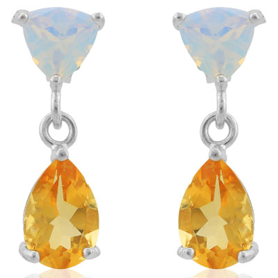 EXCELLENT 3.36 CARAT TW CITRINE & CREATED FIRE OPAL PLATINUM OVER 0.925 STERLING SILVER EARRINGS