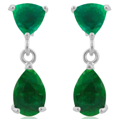 GORGEOUS 5.5 CARAT TW DYED EMERALD PLATINUM OVER 0.925 STERLING SILVER EARRINGS