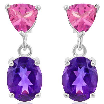 PRETTY 5.21 CARAT AMETHYST & CREATED PINK SAPPHIRE PLATINUM OVER 0.925 STERLING SILVER EARRINGS
