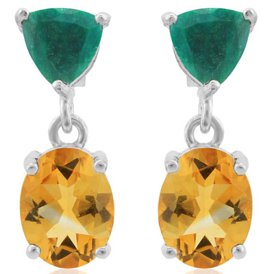 ELEGANT 4.9 CARAT CITRINE & DYED EMERALD PLATINUM OVER 0.925 STERLING SILVER EARRINGS