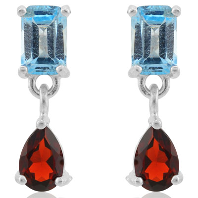 GLAMOROUS 2.29 CARAT BLUE TOPAZ & GARNET PLATINUM OVER 0.925 STERLING SILVER EARRINGS
