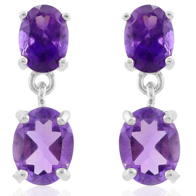 GLAMOROUS 3.8 CARAT  AMETHYST & AMETHYST PLATINUM OVER 0.925 STERLING SILVER EARRINGS