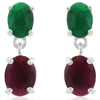 ELEGANT 5 CARAT GENUINE RUBY & DYED EMERALD PLATINUM OVER 0.925 STERLING SILVER EARRINGS