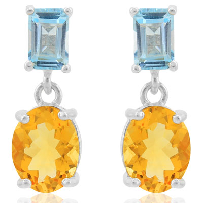 ASTONISHING 4.41 CARAT CITRINE & BLUE TOPAZ PLATINUM OVER 0.925 STERLING SILVER EARRINGS