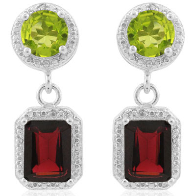 ALLURING 5.71 CARAT GARNET & PERIDOT PLATINUM OVER 0.925 STERLING SILVER EARRINGS