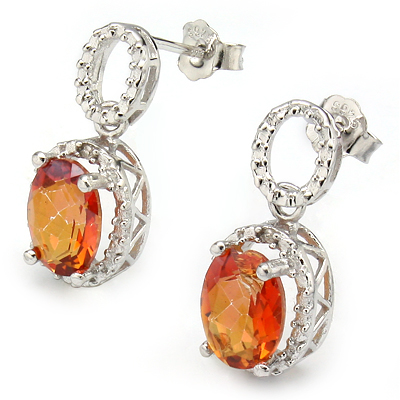 ALLURING 2.31 CARAT TW AZOTIC GEMSTONE & GENUINE DIAMOND PLATINUM OVER 0.925 STERLING SILVER EARRINGS