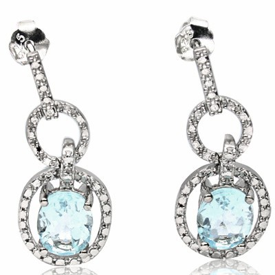 MARVELOUS 2.82 CT BLUE TOPAZ WITH DFOUBLE DIAMOND 0.925 STERLING SILVER W/ PLATINUM EARRINGS
