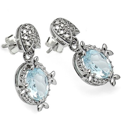 MESMERIZING 2.82 CT BLUE TOPAZ & 2 PCS WHITE DIAMOND 0.925 STERLING SILVER W/ PLATINUM EARRINGS
