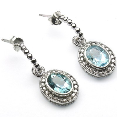 PRECIOUS 2.82 CT BLUE TOPAZ & 2 PCS WHITE DIAMOND 0.925 STERLING SILVER W/ PLATINUM EARRINGS