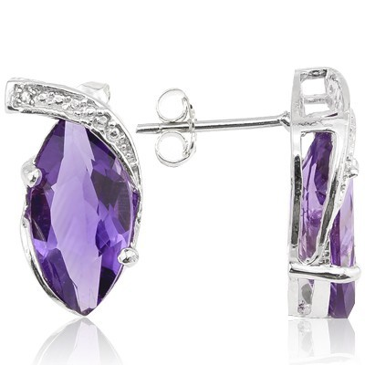 CLASSIC 4.76 CT AMETHYST & 2 PCS WHITE DIAMOND 0.925 STERLING SILVER W/ PLATINUM EARRINGS