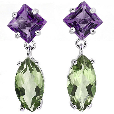 DAZZLING 7.92 CARAT GREEN AMETHYST & AMETHYST PLATINUM OVER 0.925 STERLING SILVER EARRINGS